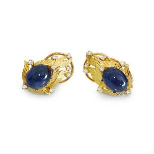 (GIA) 18K, Natural Blue Sapphire & Diamond Earrings