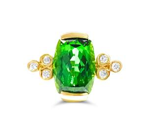 14K Gold, 4.00 CT Green Tourmaline and Diamond Ring