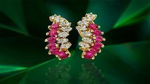 Natural 1.70 Carat Ruby Diamond Earrings in 14k Gold