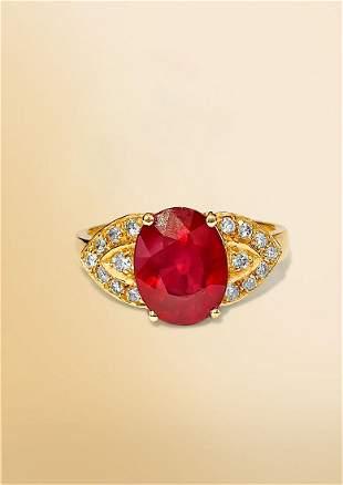 Art Deco 14K Yellow Gold 4.50 Carat Ruby Diamond Ring