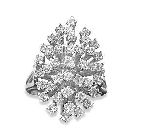 1.80 Carat Diamond White Gold Cocktail Ring 14k Gold