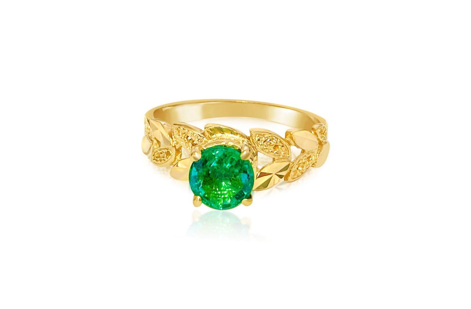 Vintage 22k-18K Yellow Gold & Emerald Ring (Certified)