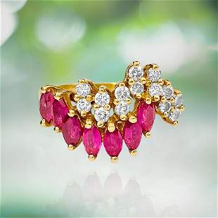 Vintage, 14kt Gold. 0.75ct Diamond & Ruby Ring For Her.