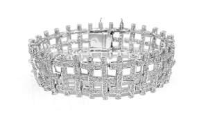 5 Carat Diamond Bracelet Set in 14k White Gold (GIA)