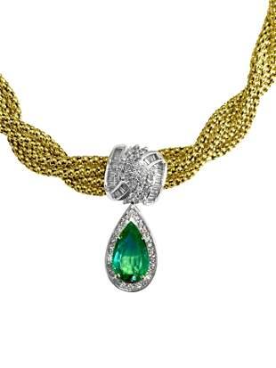 14k Gold Emerald Diamond Necklace Certified