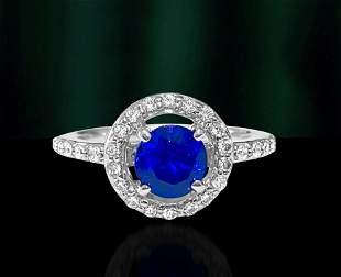 Vintage, Blue Sapphire & Diamond Ring For Womens