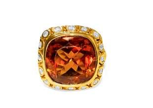 Vintage 18k Yellow Gold 13.50ct Citrine Diamond Ring
