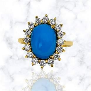 Art Deco 2.00 Carat Turquoise Diamond Cocktail Ring