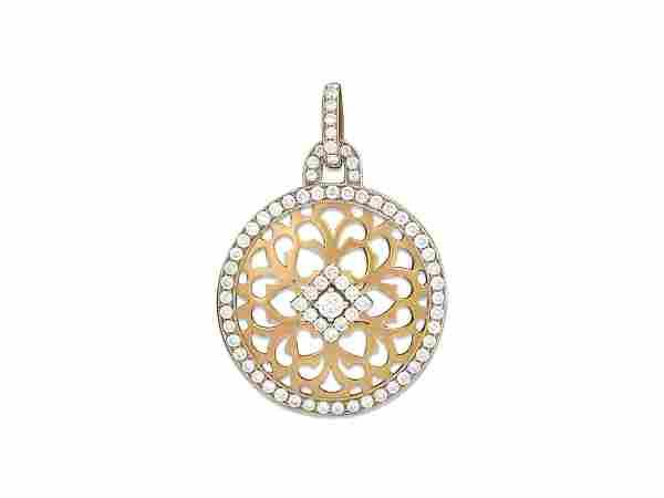 Two Tone Italian 18k Yellow Gold & Diamond Pendant
