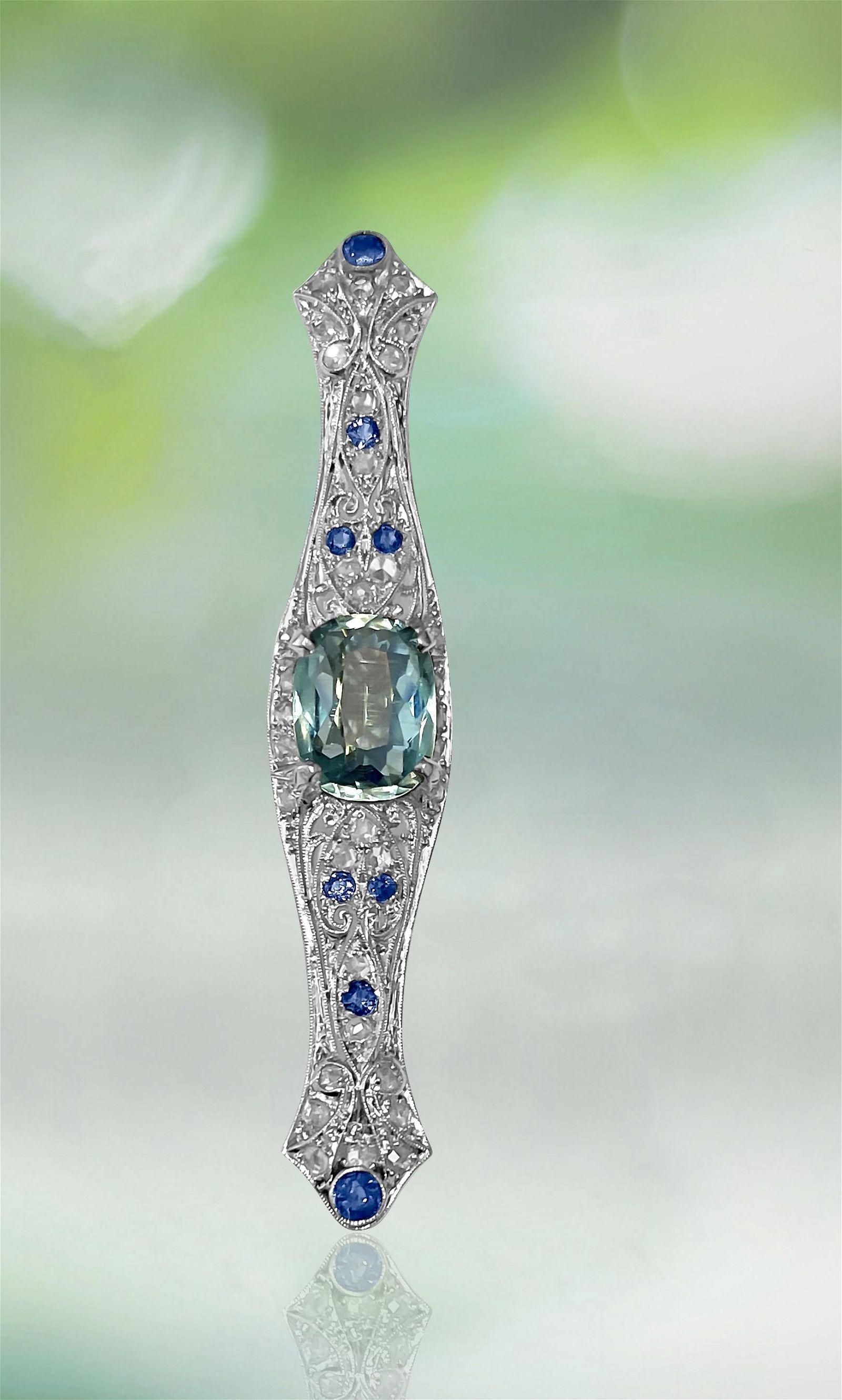 Sapphire Diamond Aquamarine Ladies Estate Pin