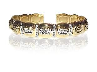 Cartier Style 14K Yellow Gold Diamond Bracelet