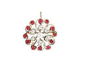 Antique European 3.70 Ct Diamond and Ruby Pin. (GIA)