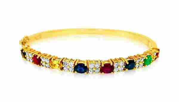 Precious Multi Gemstone & Diamond Bracelet in 18k gold