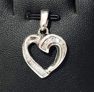 Heart Shape 18K WHITE GOLD Pendant