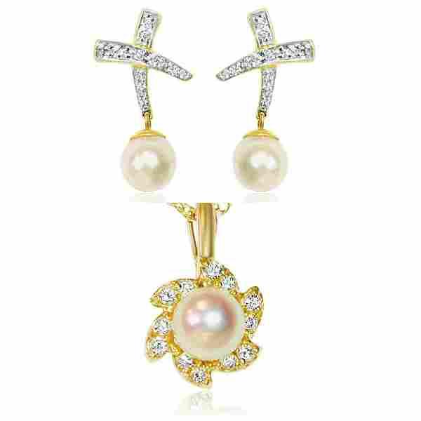 18K, 0.65 CT diamond & pearl; earrings & pendant set