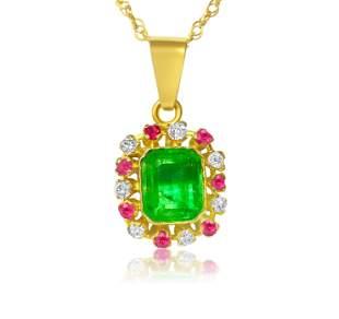 3.00 Carat Diamond, Emerald & Ruby Pendant. 18K Gold