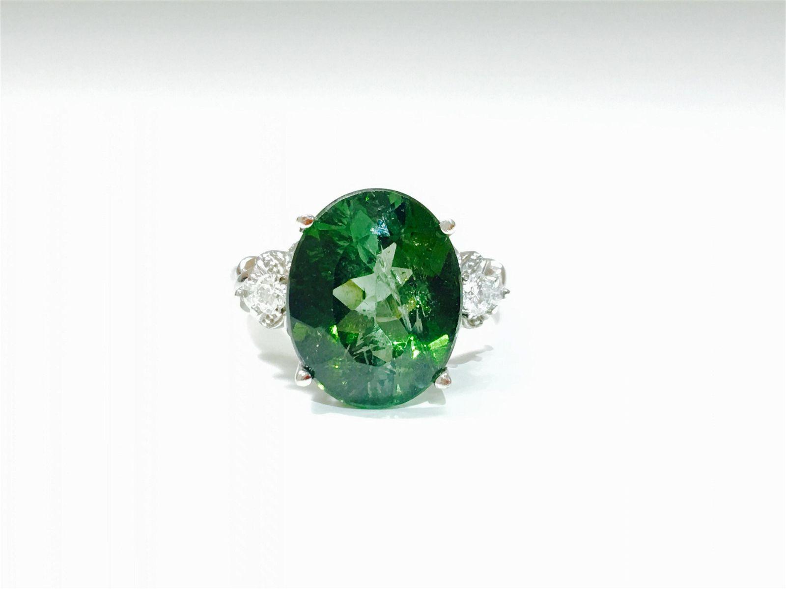 14K Gold, Andalusite & VS Diamond Ladies Ring