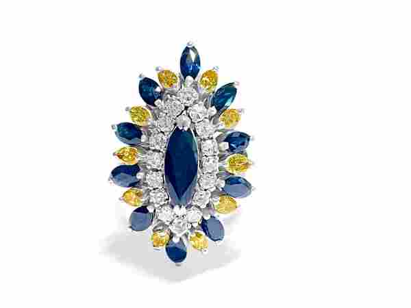 Vintage 18k Diamond Blue Sapphire Yellow Diamond Ring