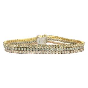 10.50ct 3 Row Tennis Bracelet Trio Color 10k Gold