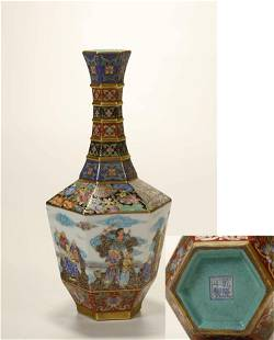 AN ENAMEL PAINTED VASE EIGHT IMMORTALS