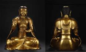 A LARGE GILT BRONZE BUDDHA STATUE
