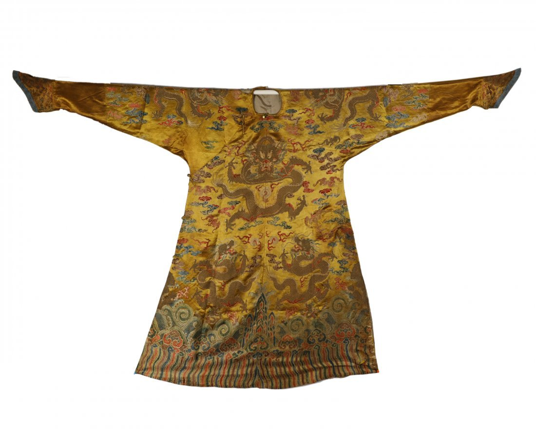 18/19THC YELLOW GROUND EMBROIDERED SILK DRAGON ROBE