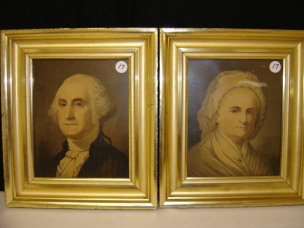 17: Pair of early George and Martha Washington litho's.