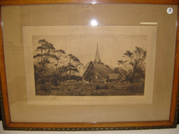18: Large etching by Fred Slocombe.