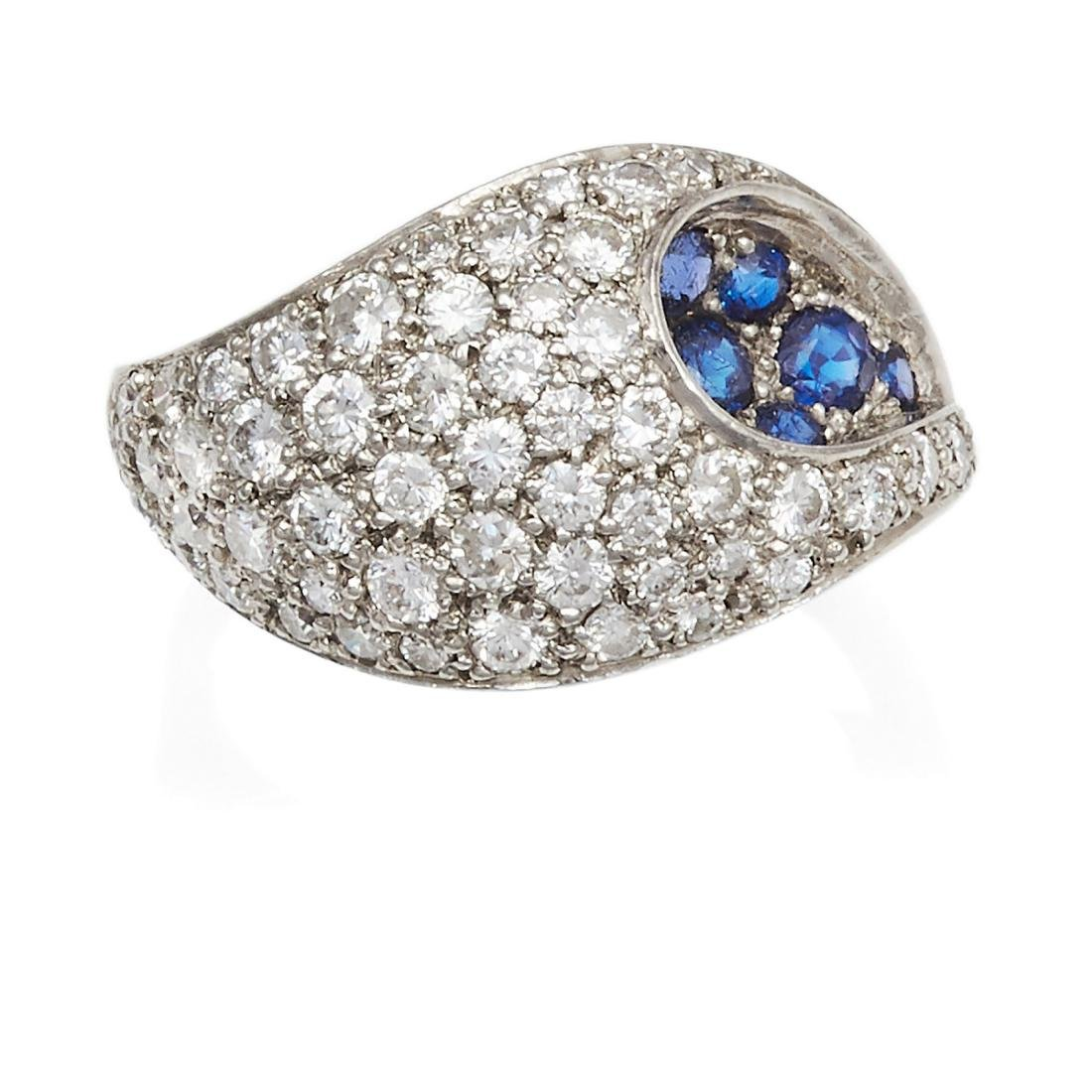 A SAPPHIRE AND DIAMOND DRESS RING in white gold or