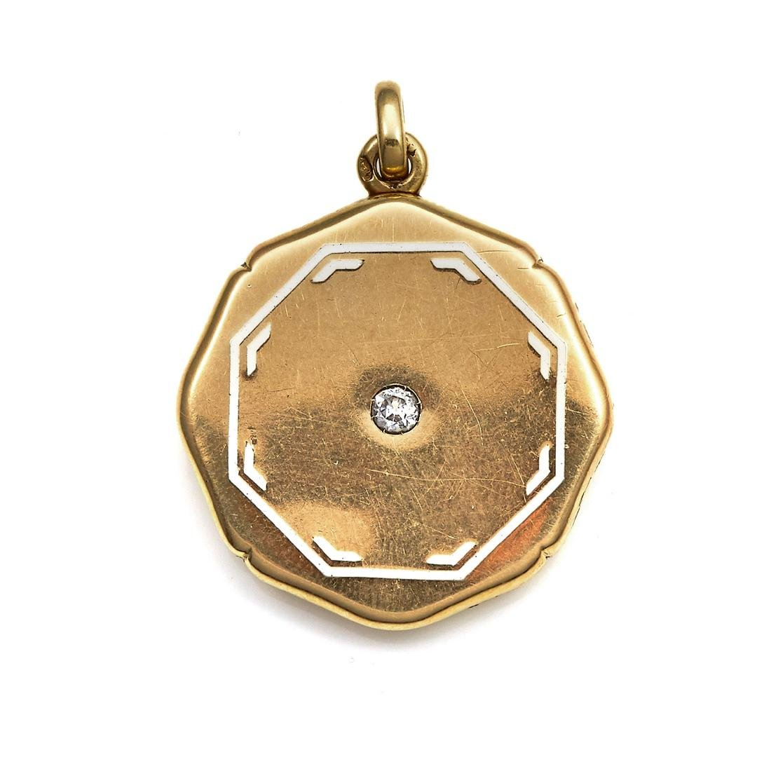 AN ANTIQUE DIAMOND AND ENAMEL LOCKET in high carat