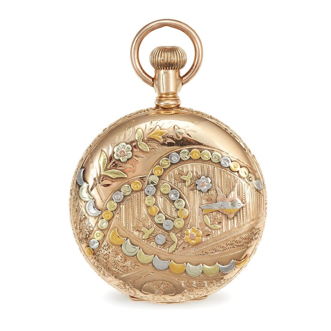 AN ANTIQUE POCKET WATCH, WALTHAM in 14ct gold, the