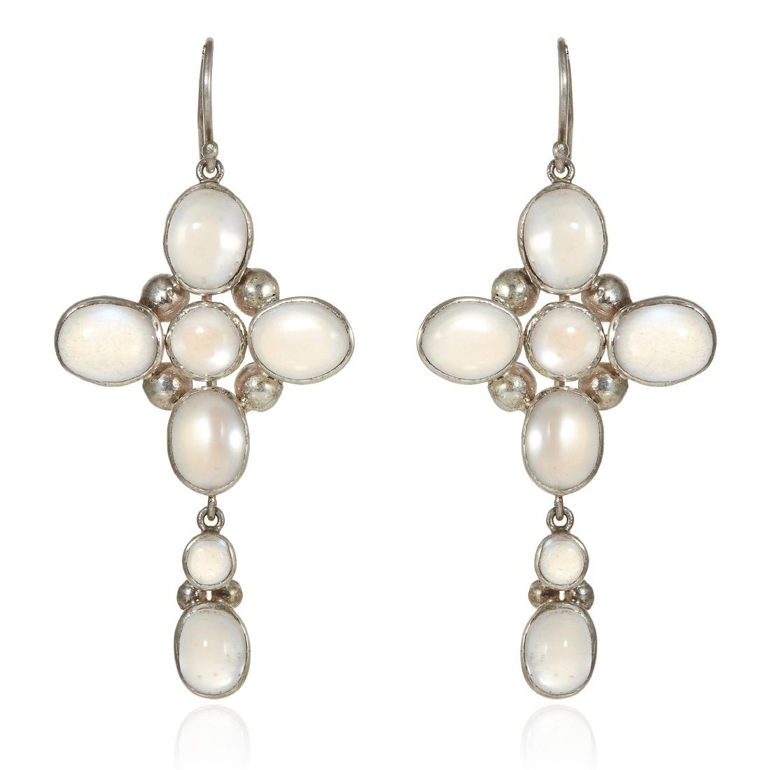A PAIR OF MOONSTONE CROSS EARRINGS in sterling silver,