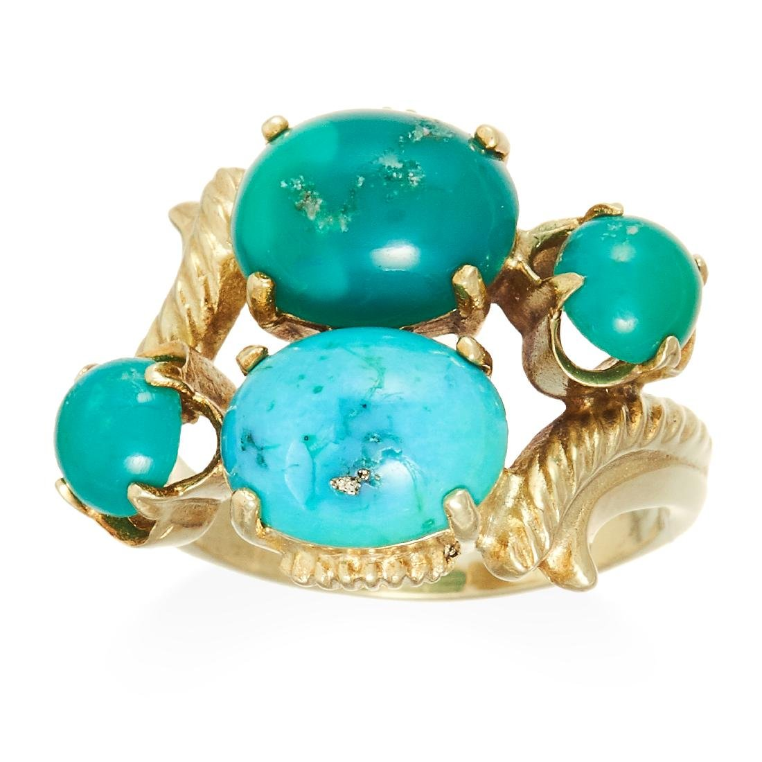 A TURQUOISE DRESS RING in high carat yellow gold, set