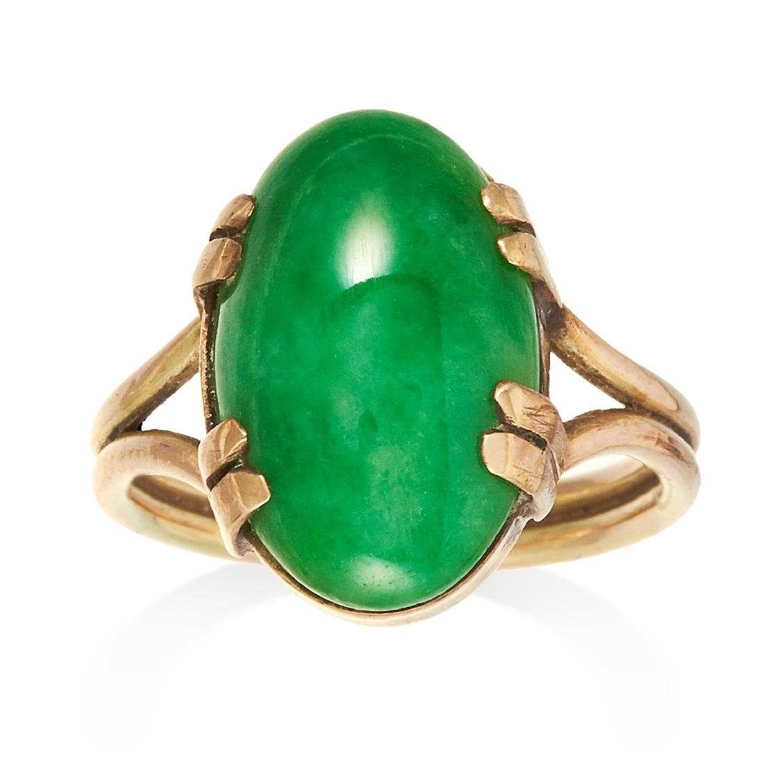 A JADEITE JADE DRESS RING in yellow gold, set with an