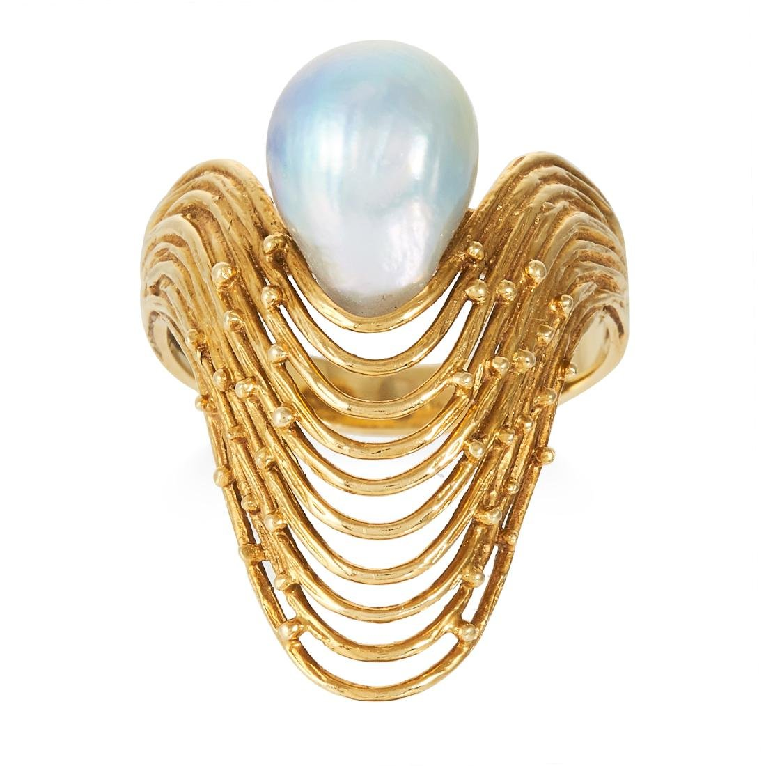 A PEARL DRESS RING, in 18 carat yellow gold, of