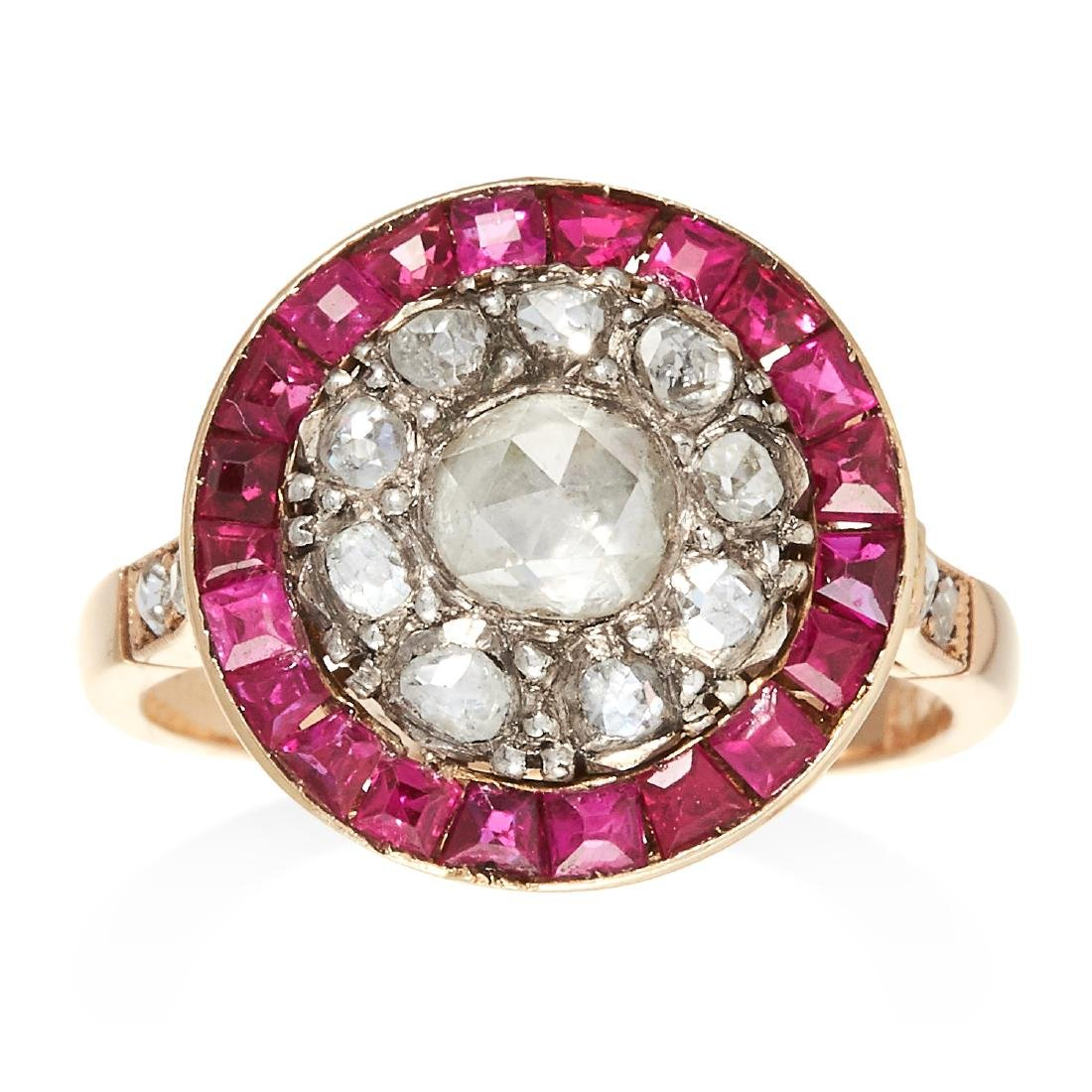 AN ANTIQUE DIAMOND AND RUBY DRESS RING in yellow gold,
