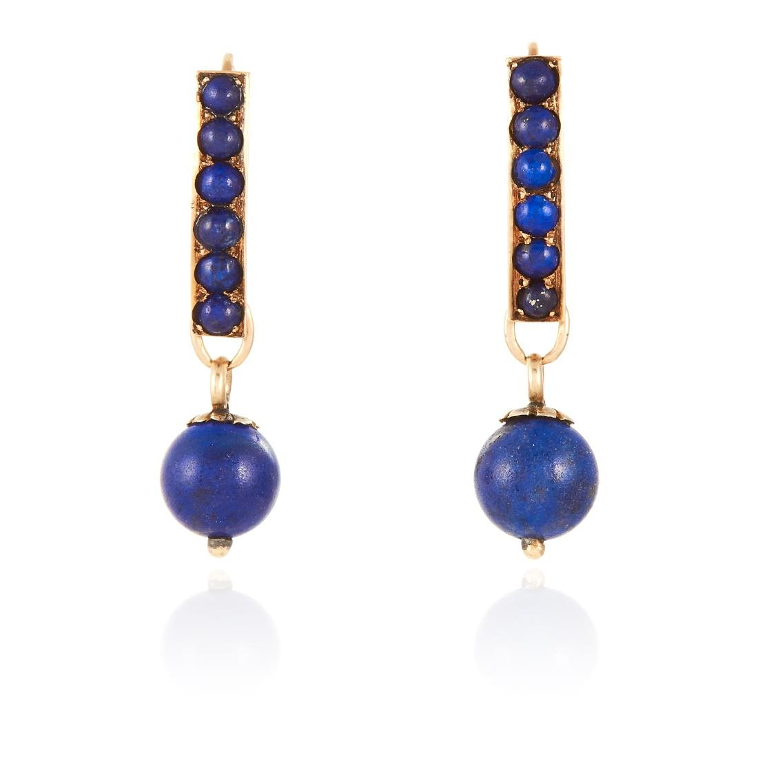 A PAIR OF LAPIS LAZULI EARRINGS in yellow gold, each