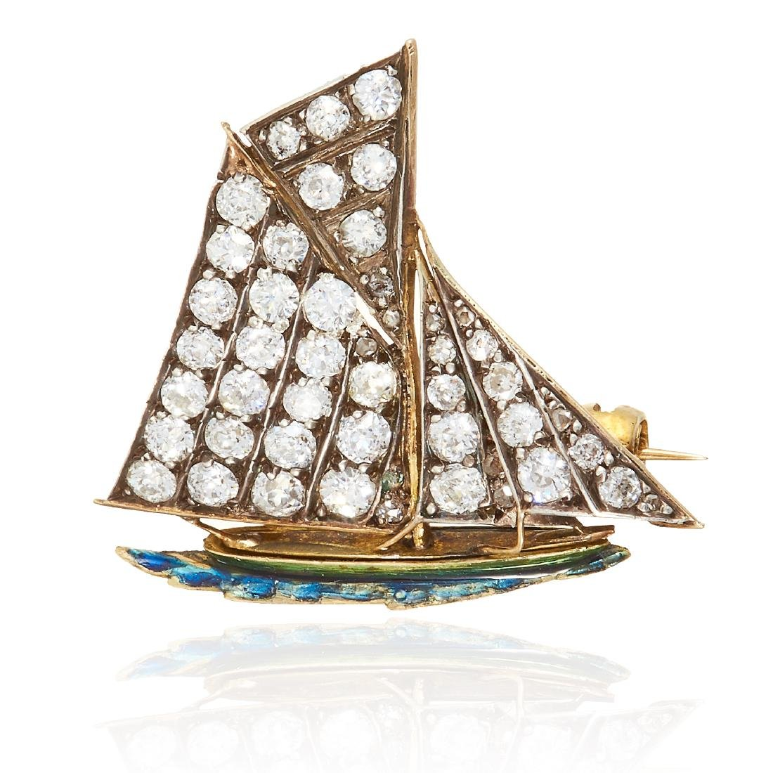 AN ANTIQUE DIAMOND AND ENAMEL SAILING BOAT PIN / BROOCH