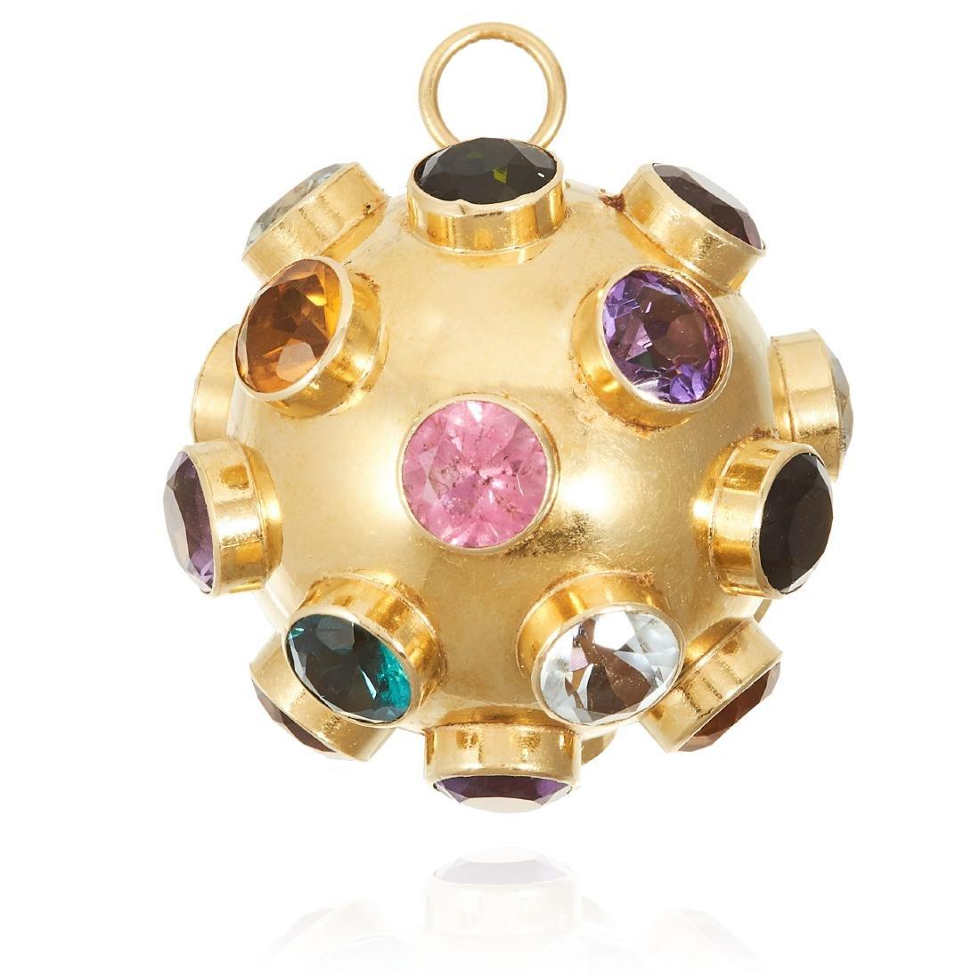 A VINTAGE GEM SET PENDANT, SPUTNIK in 18ct yellow gold,
