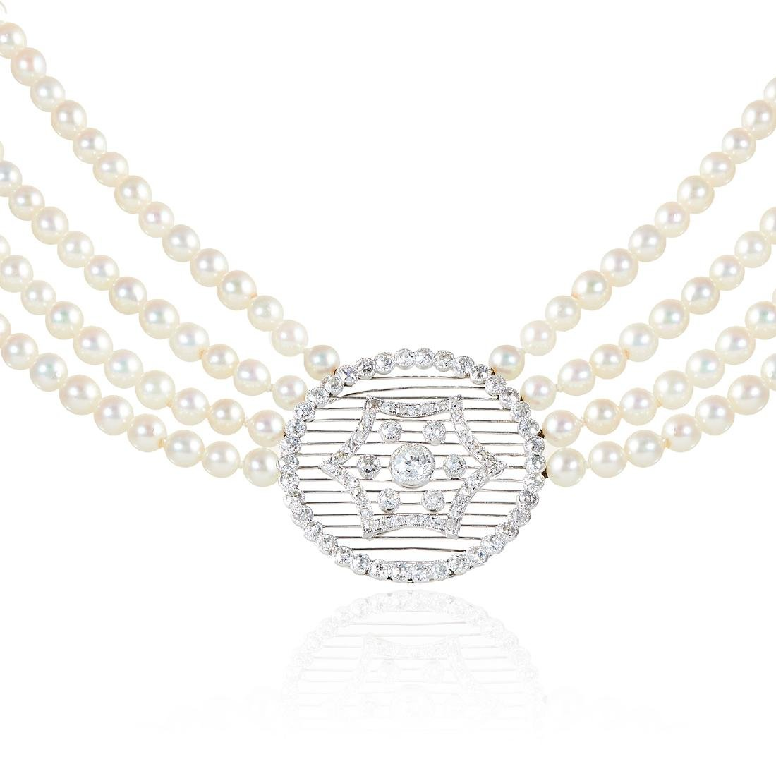 AN ANTIQUE PEARL AND DIAMOND NECKLACE in platinum or