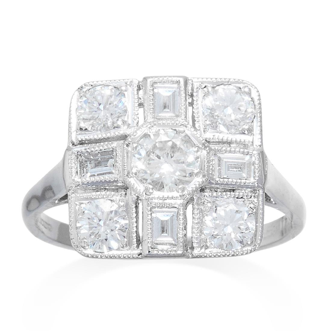 A DIAMOND DRESS RING in 18ct white gold, the square