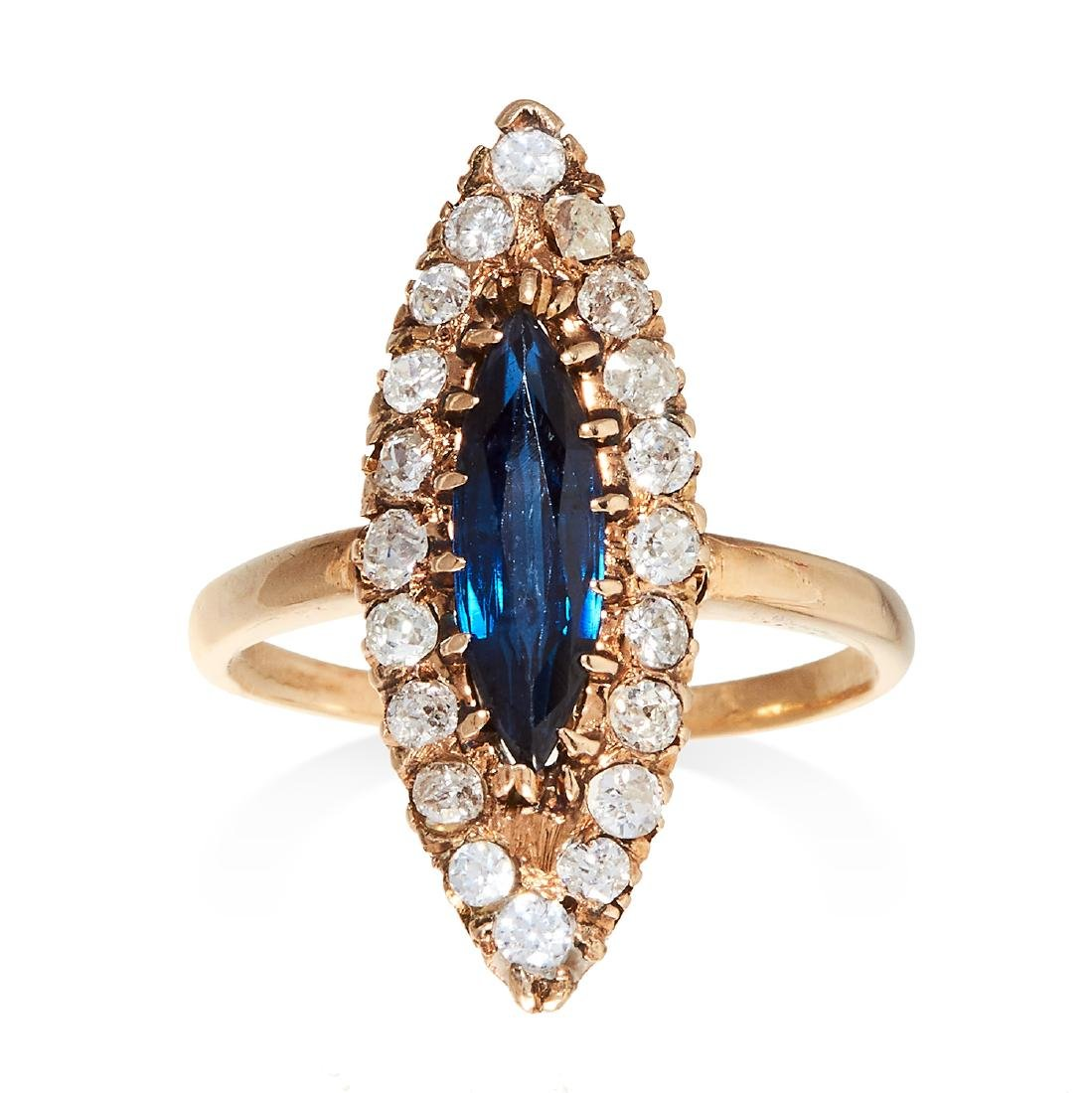 A SAPPHIRE AND DIAMOND DRESS RING, VICTORIAN in yellow