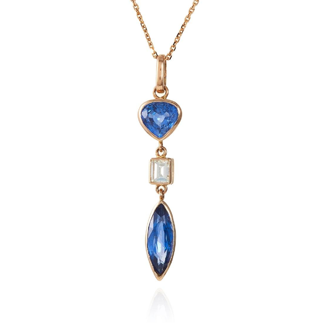 A SAPPHIRE AND DIAMOND PENDANT in 18ct gold, comprising