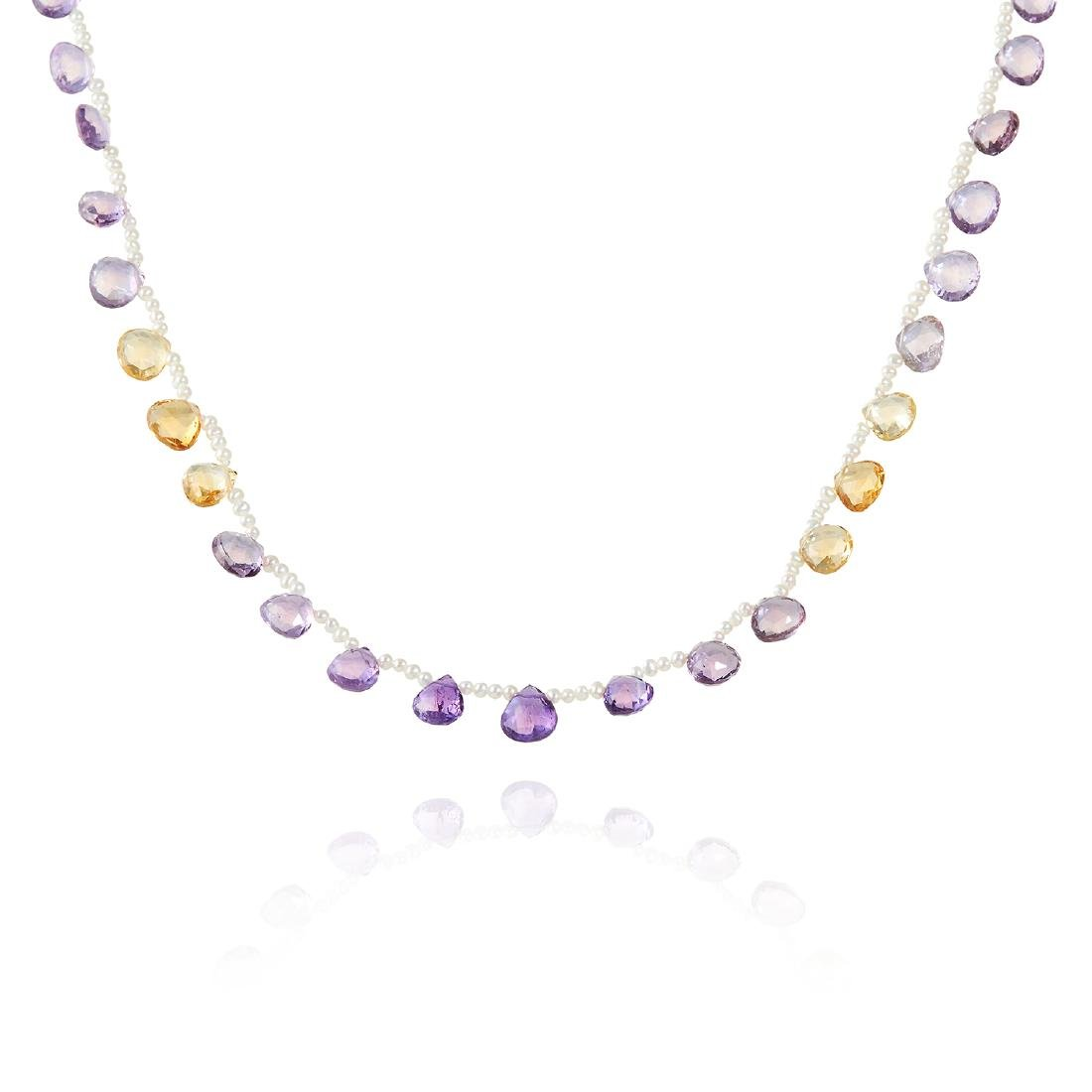 AN AMETHYST, CITRINE AND SEED PEARL NECKLACE in 18ct