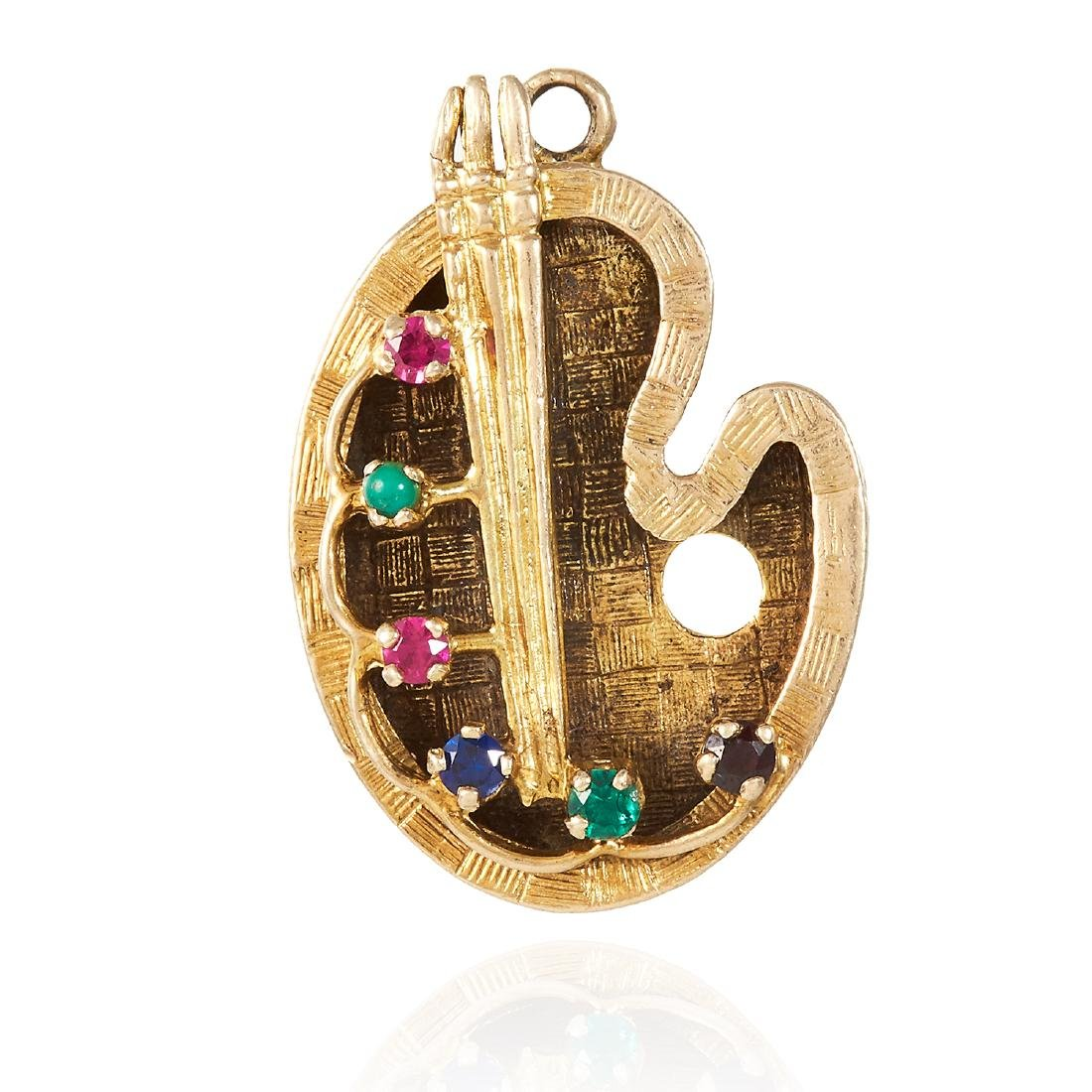 A GEMSET PAINT PALETTE PENDANT in 9ct yellow gold,