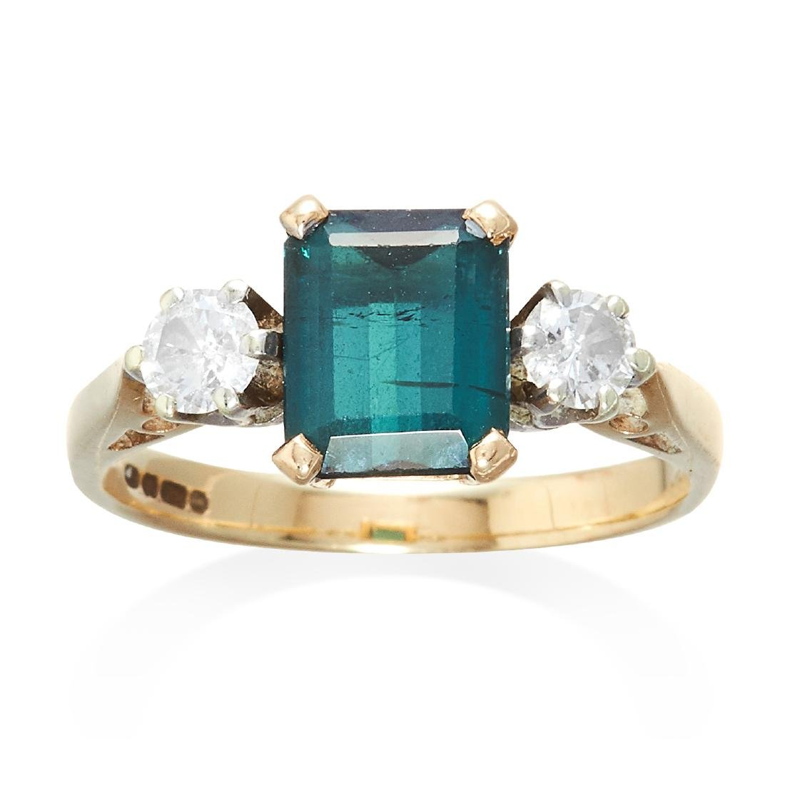 A TOURMALINE AND DIAMOND RING 9ct yellow gold, set with