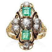 AN ANTIQUE EMERALD DIAMOND AND ENAMEL RING in high