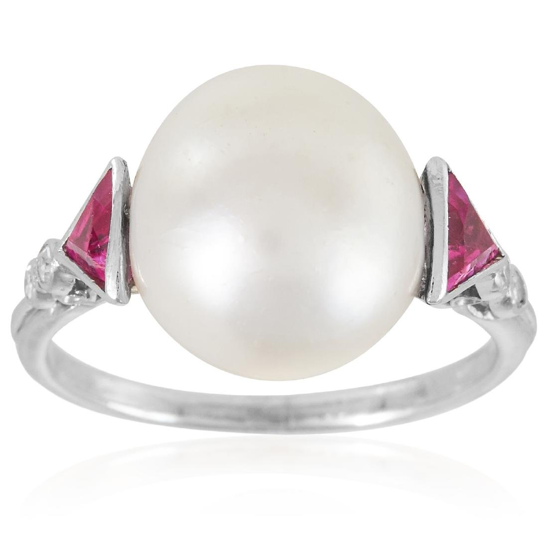 AN ANTIQUE NATURAL PEARL, RUBY AND DIAMOND DRESS RING