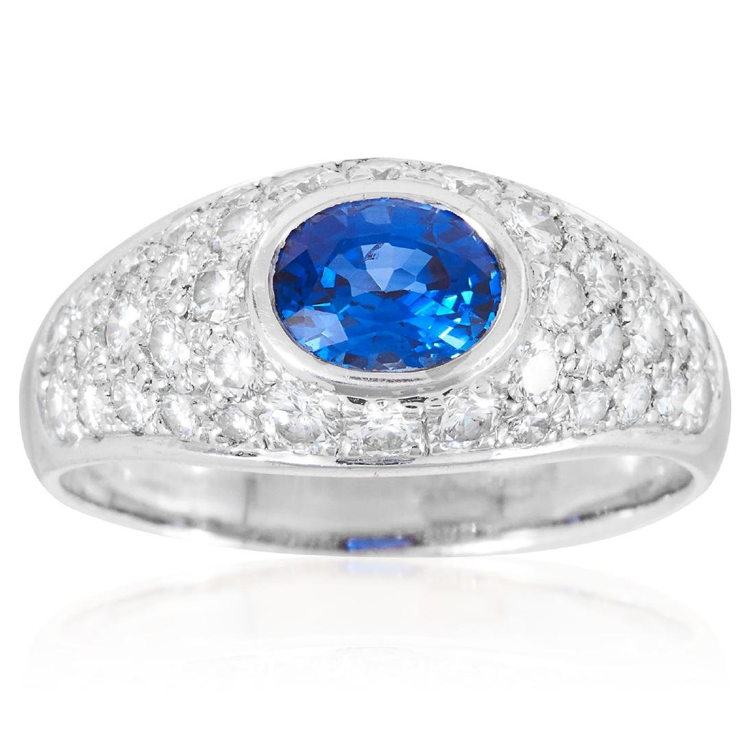 A CEYLON SAPPHIRE AND DIAMOND DRESS RING in 18ct white