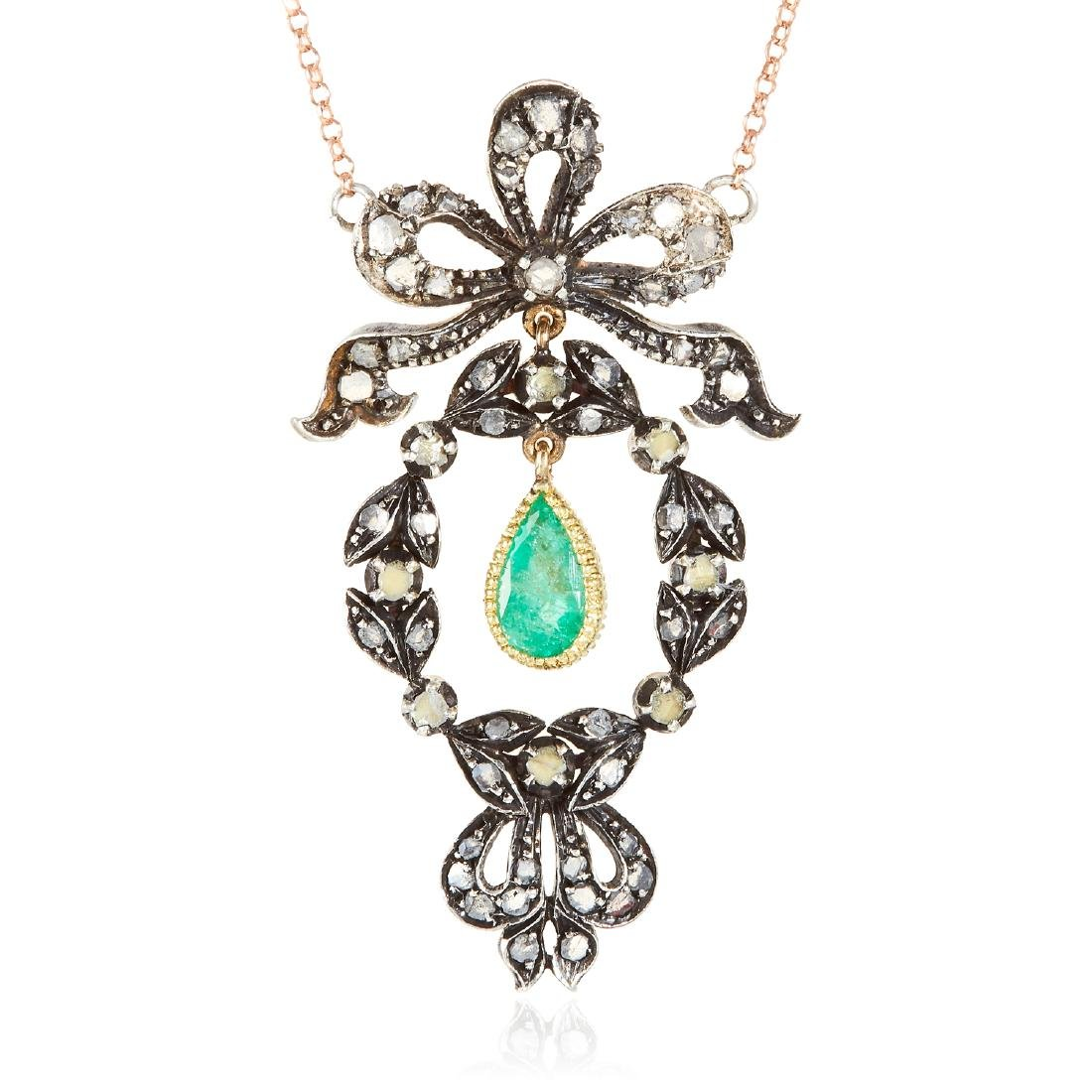 AN ANTIQUE EMERALD AND DIAMOND PENDANT NECKLACE,
